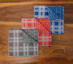 Reversible Plaid & Polka Dot Pocket Square