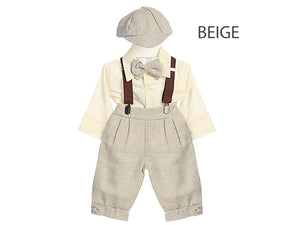 Baby to Little Boy Retro 5 piece Natural Linen Knickers Set, Khaki Tan Beige, Wedding Ring Bearer Page Boy Baptism Christening, 6m-4T