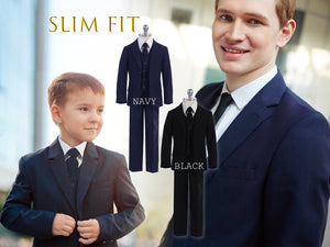 Little to Big Boy Slim Fit Premium 5-Piece Suit Tuxedo, Black, Navy, Wedding Ring Bearer, Homecoming, Prom, Size 1-20