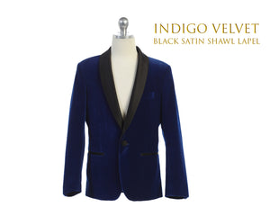 Toddler to Big Boy Slim Fit Luxurious Velvet Suit Blazer Coat Black Satin Shawl Lapel, Indigo, Wedding Ring Bearer, Size 1-20