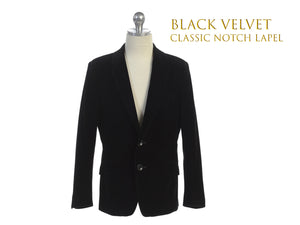 Little to Big Boy Slim Fit Premium Velvet Suit Blazer, Black, Wedding Ring Bearer, Size 1-20
