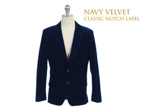 Little to Big Boy Slim Fit Premium Velvet Suit Blazer, Navy, Wedding Ring Bearer, Size 1-20