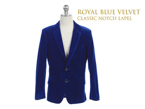 Little to Big Boy Slim Fit Premium Velvet Suit Blazer, Royal Blue, Wedding Ring Bearer, Size 1-20