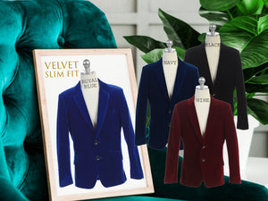 Little to Big Boy Slim Fit Premium Velvet Suit Blazer, Royal Blue, Navy, Black, Burgundy Wine, Wedding Ring Bearer, Size 1-20
