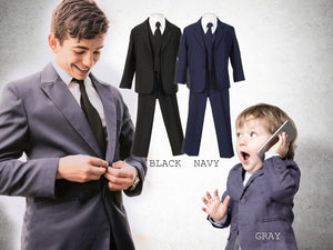 Baby To Big Boy 5-Piece Suit Tuxedo, Black, Dark Gray, Navy, Baptism, Wedding Ring Bearer, Size 6 months to Boy 20