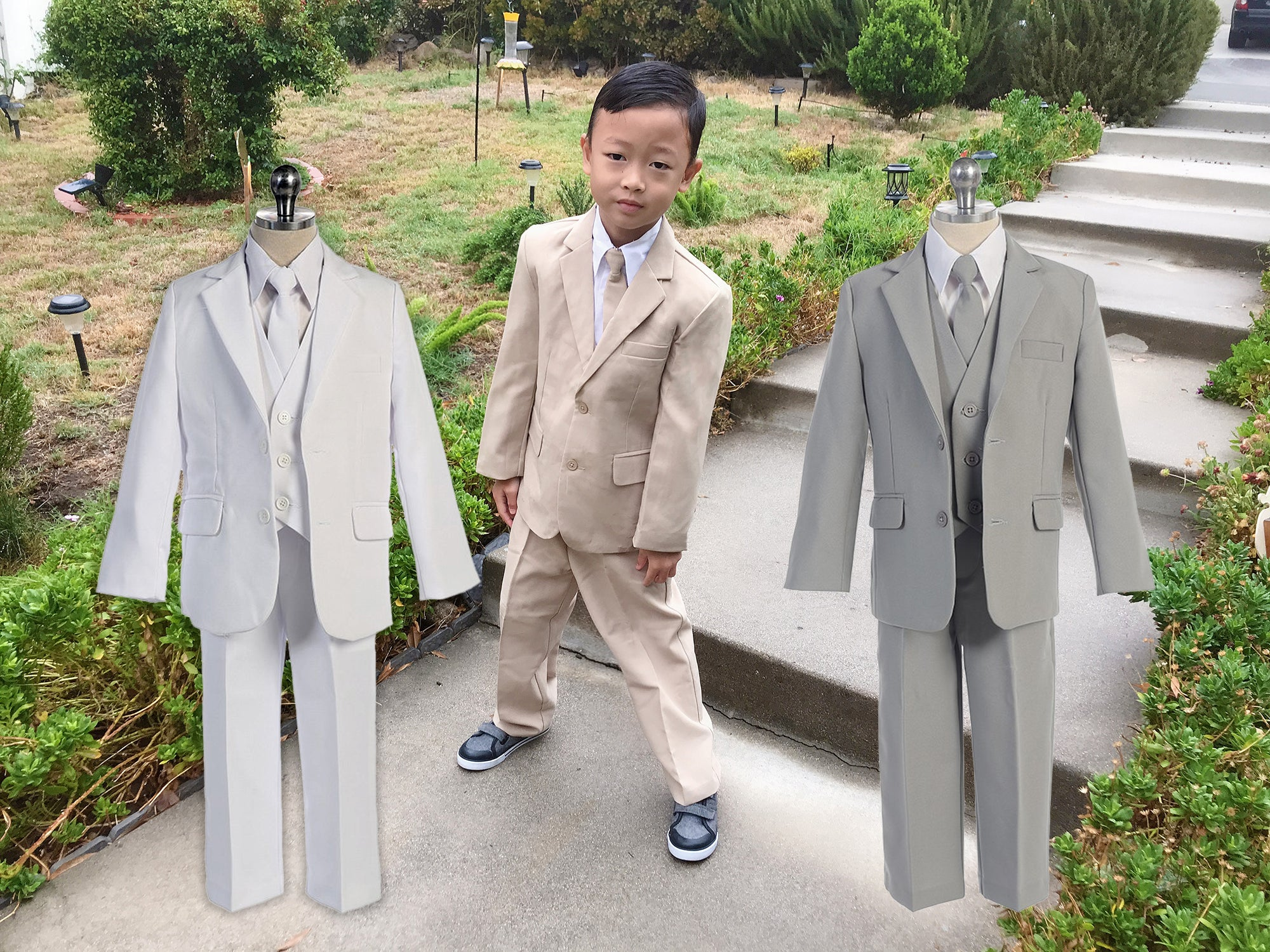 4c9a49533 Baby Toddler to Big Boy 5-Piece Suit Tuxedo, White, Gray Silver,