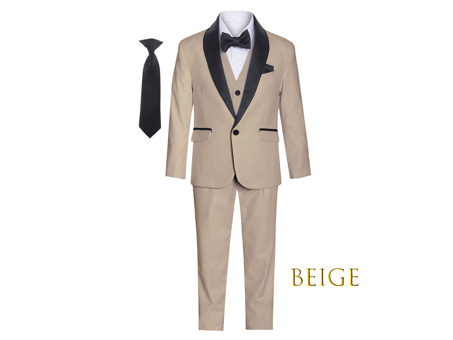 Little to Big Boy Slim Fit Premium 7-Piece Suit Tuxedo Contrast Satin Shawl Lapel, White, Beige Khaki, Wedding Ring Bearer, Prom, Size 1-18