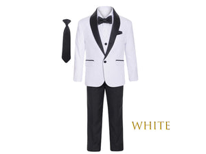 Little to Big Boy Slim Fit Premium 7-Piece Suit Tuxedo Black Satin Shawl Lapel, White, Wedding Ring Bearer, Prom, Size 1-18