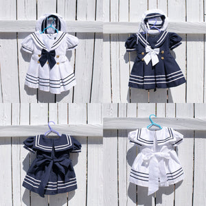 Baby to Little Girls Nautical Marine Sailor Dress Costume with Hat, Halloween Birthday, Size 6 months - 5T