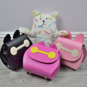 Girl Baymax Sling Purse, Vegan Leather, Neon Pink