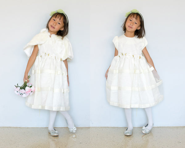 Girl 2-Piece Ivory Bridal Satin Organza Dress and Vegan Fur Bolero Shawl Size 3T 4T