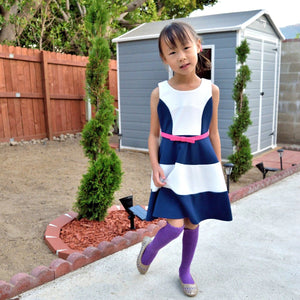 Girl 2 Tones Nautical Dress, Navy and White, Size 6