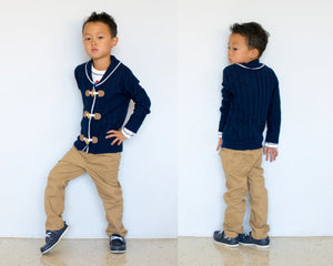 Boy 3-pcs Midnight Blue Cardigan with Toggle Buttons, Khaki Pants and Sweater Set
