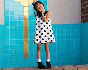 Girl Retro Dolly Polka Dots Black and White Dress, Peter Pan Collar