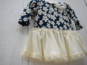 Baby Girl Whimsical Floral Tutu Tulle Ruffles Dress, Navy Ivory