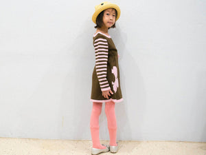 Girls Pink Chocolate Stripe Floral Knit Dress