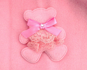 Girl Velvet Pink Teddy Bear Swing Coat with Removable Hood and Vegan Fur Collar, Size 2
