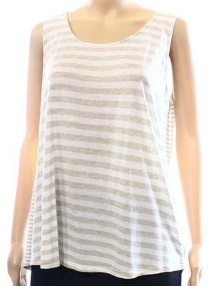 Women Beige White Stripes Loungewear Rayon Tank Top