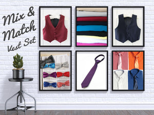 Mix and Match Colors Boys Suit Vest Set, Shirt, Tie, Bowtie