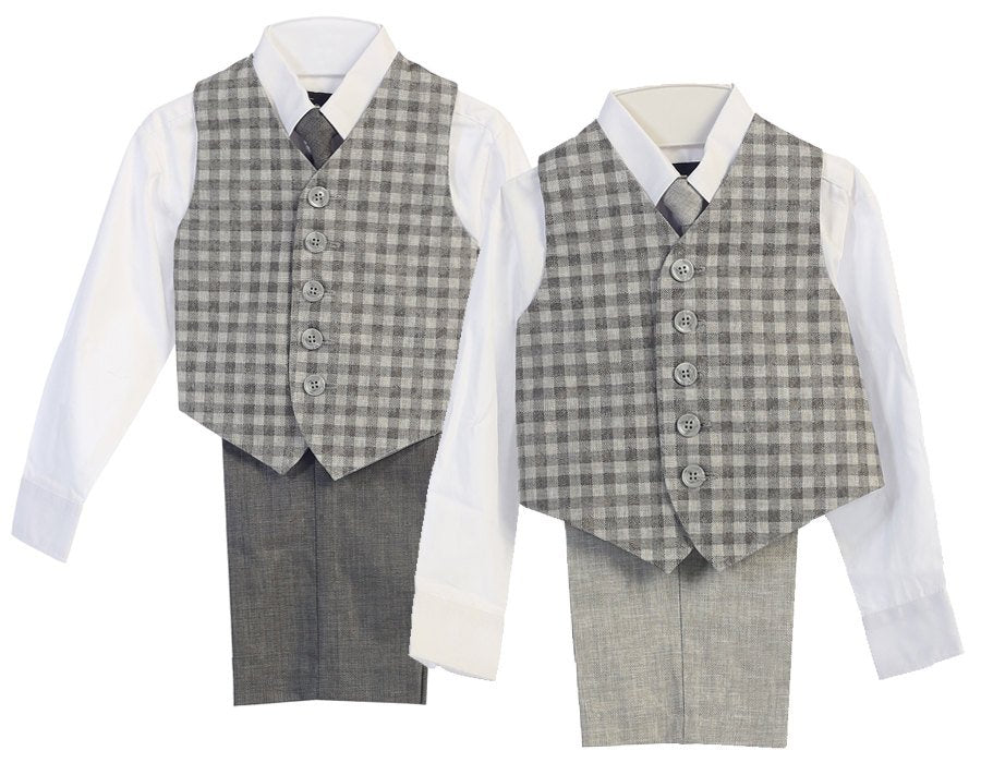 Baby to Little Boy Retro 5 piece Natural Linen Newsboy Vest Suit, Gray Plaid Checkered, Wedding Ring Bearer Page Boy Baptism Size 6m - 4T