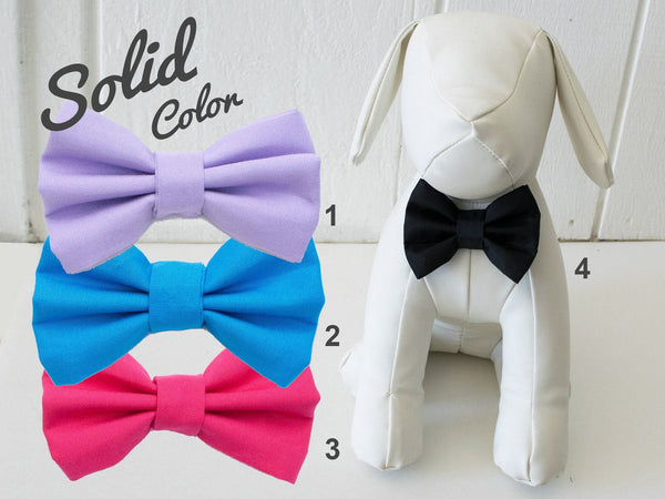 Solid Color Dog Bow Tie, Black, Cobalt Blue, Hot Pink, Lilac