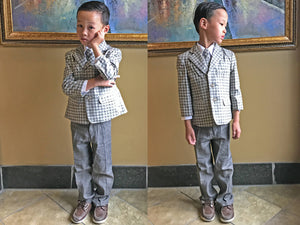 Little to Big Boy Retro Classic French Plaid Checker 5-Piece Linen Suit, Gray Brown, Wedding Ring Bearer, Prom, Size 1-20