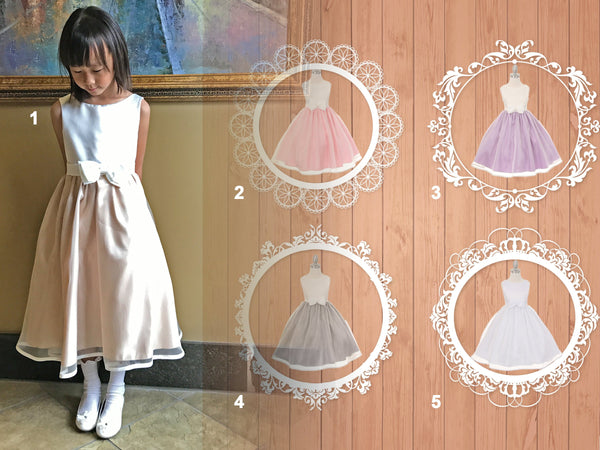 Baby Toddler to Girl Satin Organza Dress, Wedding Flower Girl Baptism Communion Christening, White Pink Champagne Lilac Purple Grey Silver