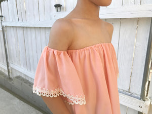 Toddlers to Teens Girls Blush Pink Crepe Off Shoulder Flare Summer Blouse, Lace Trim