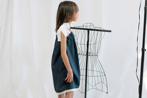 Whimsical Navy White Cotton Summer Retro Peasant Dress, Drawstring Shoulder Bow Sundress, Toddlers Girls
