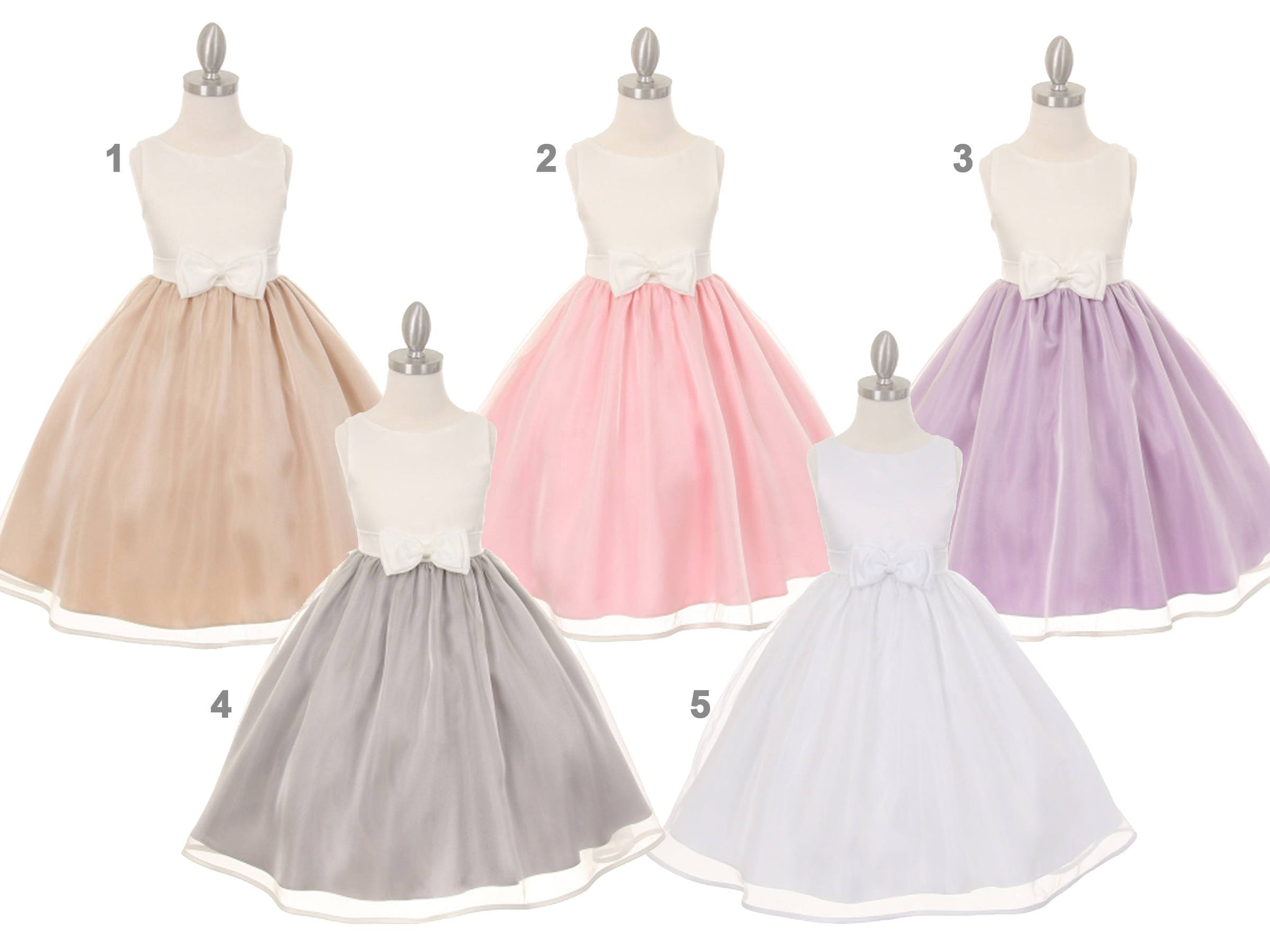 286729d01b9f Baby Toddler to Girl Satin Organza Dress, Wedding Flower Girl Baptism  Communion Christening, White
