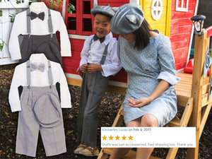 Baby to Little Boy Retro 5 piece Natural Linen Gray Set, Suspender Bowtie Hat Pants Shirt, Wedding Ring Bearer Page Boy Baptism Size 6m - 4T