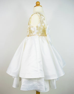 Girl White Gold Bridal Satin Ruffles Flower Lace Dress Gown, Wedding Flower Girl, Birthday Party, Communion, Pageant