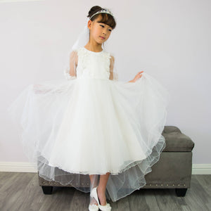 Girl Premium White Tulle Hi-Low Long Dress Gown Sweep Train, Lace Sleeves, Size 2