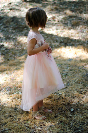 Girl Peach Blush Rose Gold Flower Lace Tulle Hi-Low Dress Gown size 6