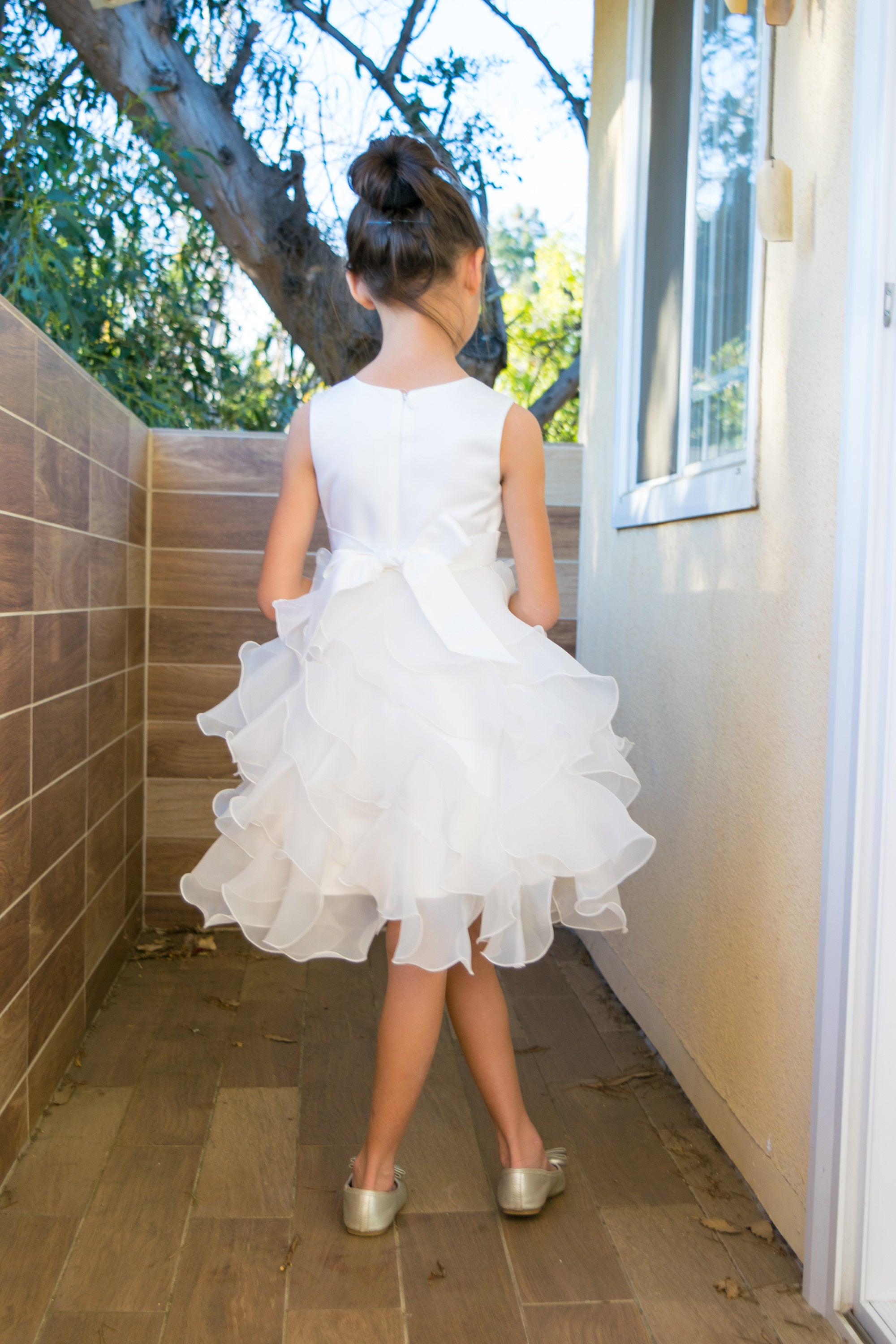 b7ec7929926 Girl Premium White Ivory Satin Organza Ruffles Dress Gown