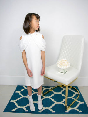 Little to Big Girl Drop Shoulder White Draped Dress, Wedding Flower Girl, Christening, Baptism, Party, Special Occasion, Size 1-14