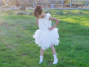 Girl Ballerina White Tulle Lace Knee Length Dress, Pageant, Wedding Flower Girl, Baptism, Christening, Communion