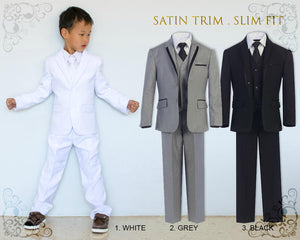 Little to Big Boy Slim Fit Premium Boys 7-Piece Suit Tuxedo Satin Trim, White Grey Black, Wedding Ring Bearer, Christening, Prom, Size 1-18