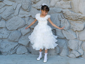 Girl Swan Dance Layered Ruffles Tea Length White Organza Dress Ball Gown, Pageant, Wedding Flower Girl, Baptism, Christening, Communion