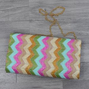 Women Retro Exotic Chevron Straw Flap Clutch, Pink Green Aqua Blue