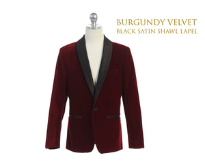 Toddler to Big Boy Slim Fit Luxurious Velvet Suit Blazer Coat Black Satin Shawl Lapel, Burgundy, Wedding Ring Bearer, Size 1-20