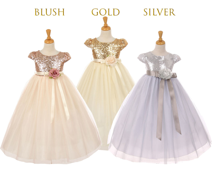 Babies to Big Girls Sparkle Sequins Tulle Sleeve Tea Length Dress, Wedding Flower Girl, Blush Pink, Gold Champagne, Silver. Size 6m - 12