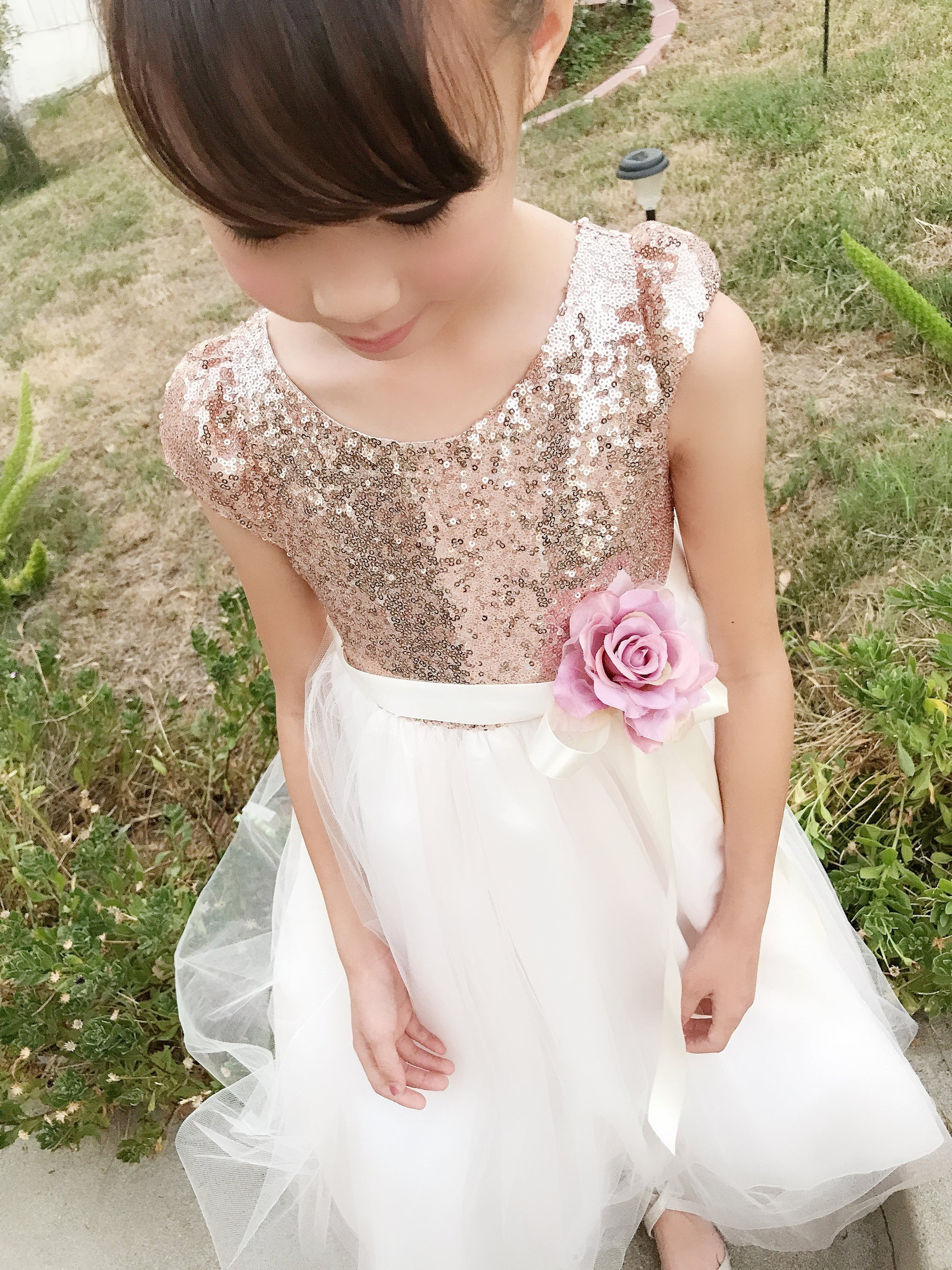 51c63d03ee2 Babies to Big Girls Sparkle Sequins Tulle Sleeve Tea Length Dress