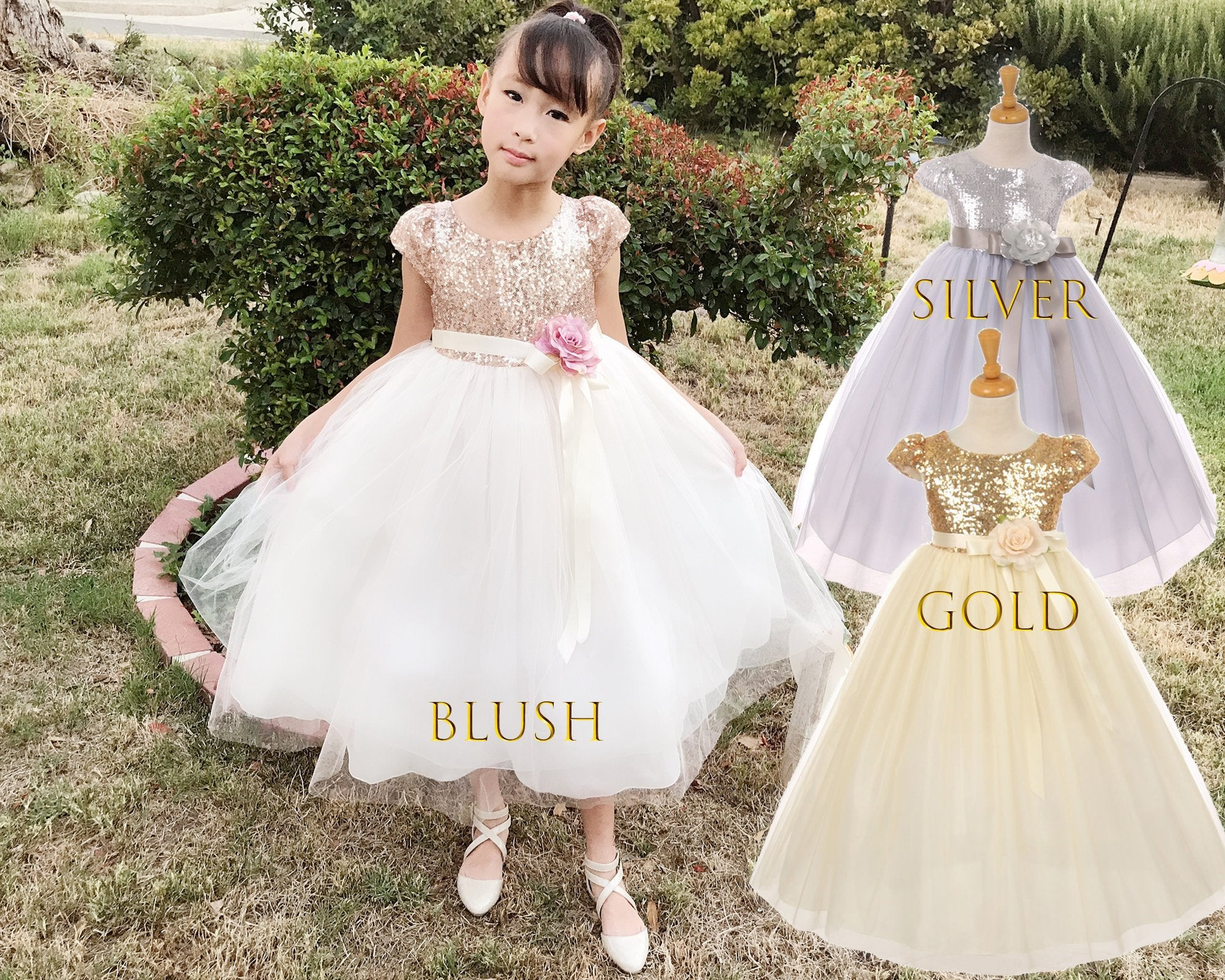 6093dd659 Babies to Big Girls Sparkle Sequins Tulle Sleeve Tea Length Dress, Wedding Flower  Girl,