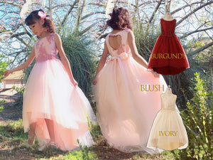 Little to Big Girl Floral Lace Sequin Hi-Low Tulle Dress Gown, Pageant Wedding Flower Girl, Blush Pink, Burgundy Wine, Ivory, Size 2-16