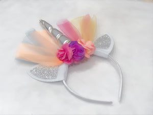 Girls Flower Unicorn Rainbow Hairband Headband, Silver, Gold, Pink, Magenta (Pink Purple), Fantasy Birthday Party, Costume