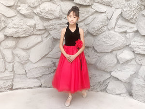Little to Big Girl Velvet Halter Neck, Layered Tulle Tea Length Dress, Red, Pink, Black, Wedding Flower Girl, Birthday Party, Size 2-12