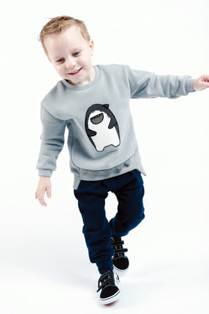Little Boy Cute Gray Shark Crew Neck Sweater with 3D Fin and Jaws, Party School Casual Animal, Size 2T - 6