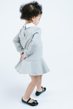 Girl Gray Knit Shift Dress with Kitty Cat Outline and Peter Pan Collar, Party School Play Dress