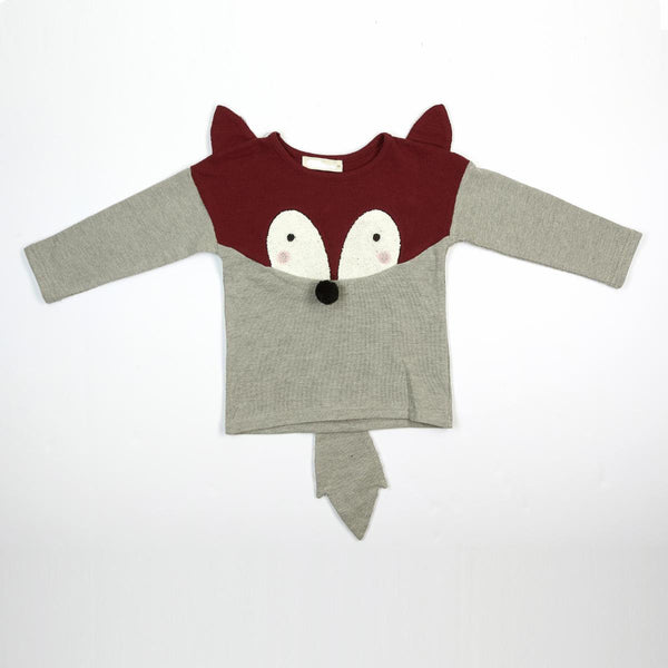 Little Boy Cute Fox Crew Neck Sweater with 3D Ears, Nose and Tail, Burgundy and Gray, Party School Casual Animal, Size 2T - 6